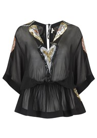 LINDSEY BROWN Hummingbird Sequined Top - Black