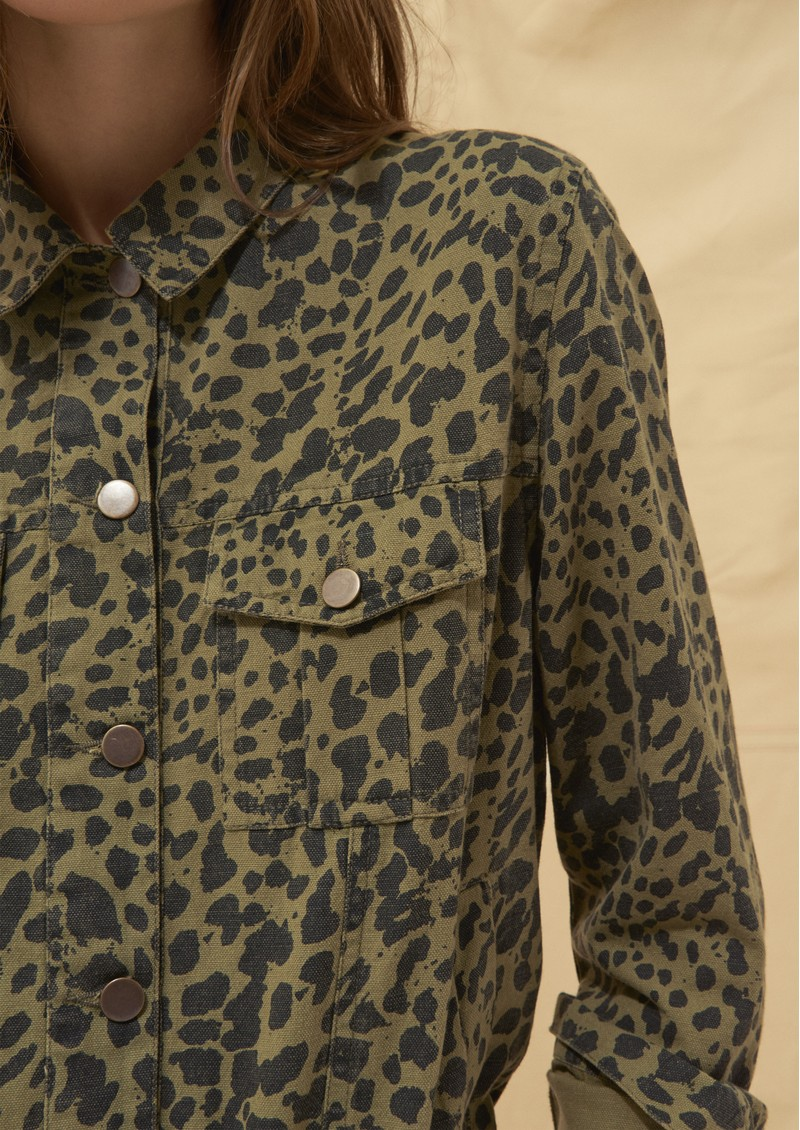 Ba&sh Looper Jacket - Khaki Leopard main image