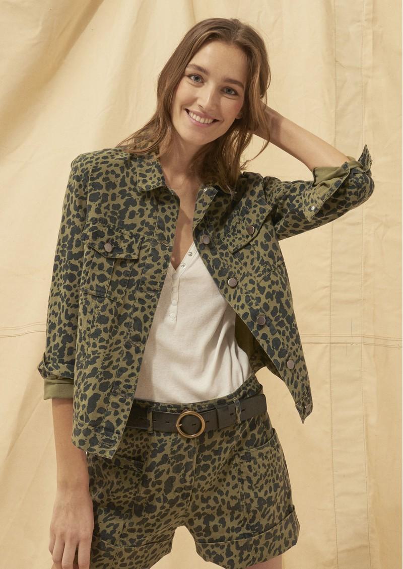 Ba&sh Lore Bermuda Shorts - Khaki Leopard main image