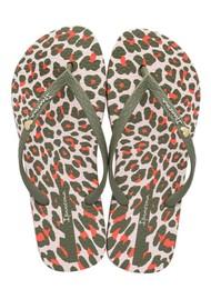 Ipanema Animal Print Flip Flops - Khaki