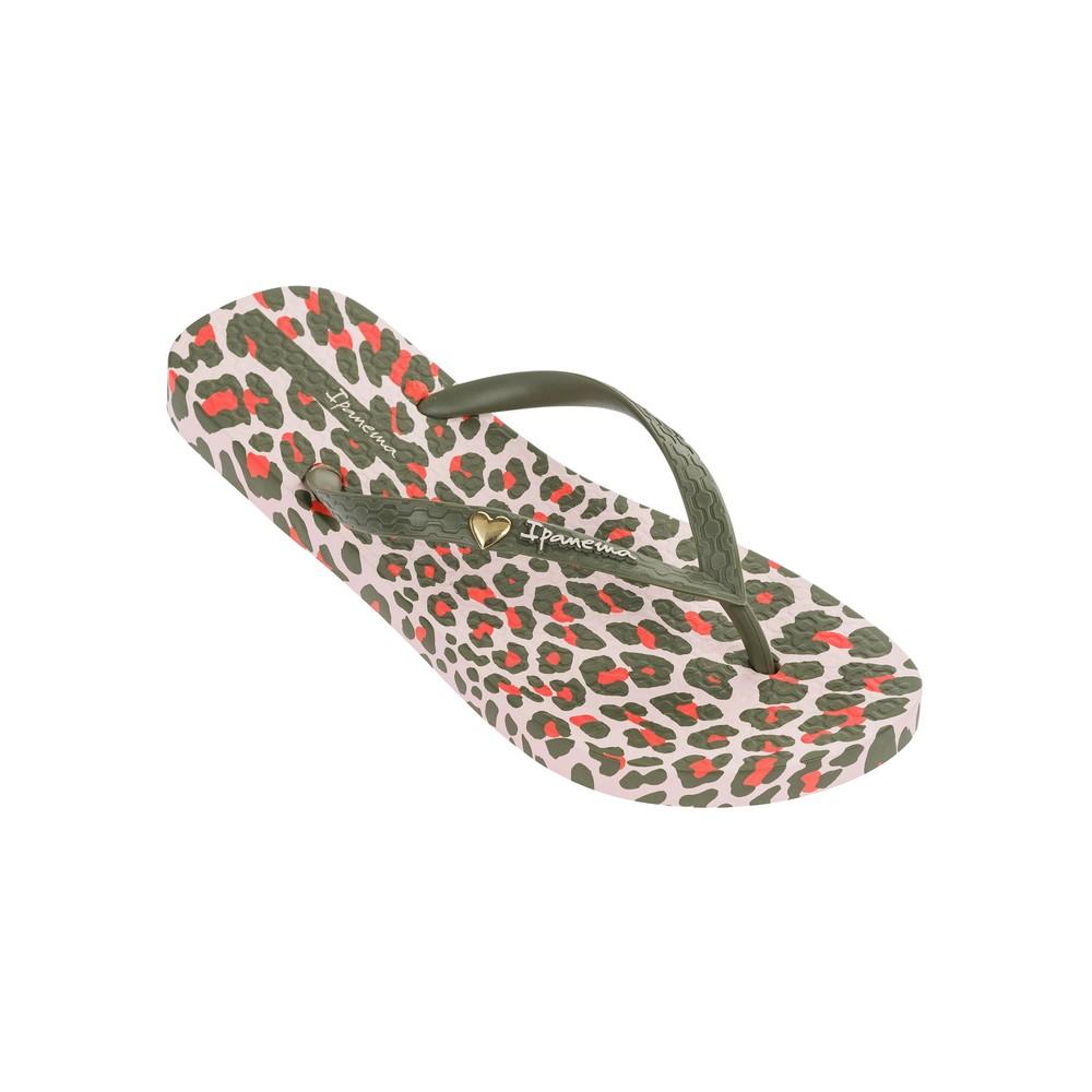 Animal Print Flip Flops - Khaki