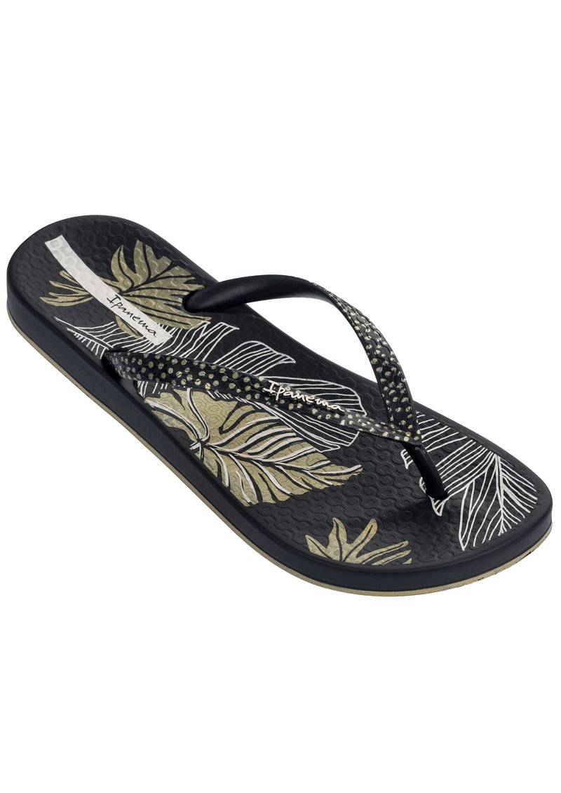 Ipanema Anatomica Nature Leaf Flip Flops - Black main image