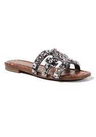Sam Edelman Bay Leather Python Slide Sandals - Black