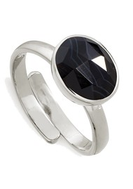 SVP Atomic Midi Adjustable Ring - Stripe Black Onyx & Silver
