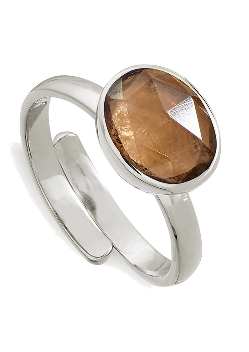 Atomic Midi Adjustable Ring - Smokey Quartz & Silver main image