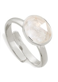SVP Atomic Midi Adjustable Ring - Rock Crystal & Silver
