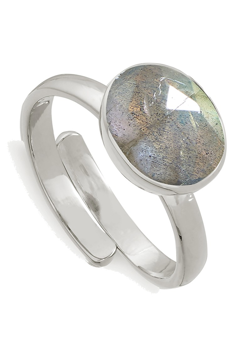 Atomic Midi Adjustable Ring - Labradorite & Silver main image