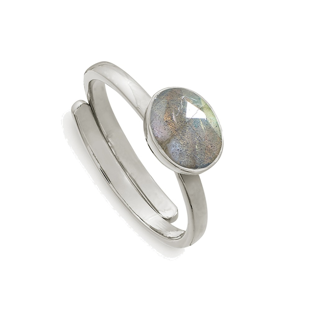 Atomic Mini Adjustable Ring - Labradorite & Silver