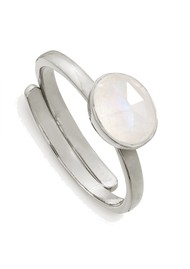 SVP Atomic Mini Adjustable Ring - Rainbow Moonstone & Silver