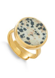 SVP Bella Lunar Adjustable Ring - Dalmation Jasper & Gold