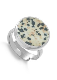 SVP Bella Lunar Adjustable Ring - Dalmation Jasper & Silver