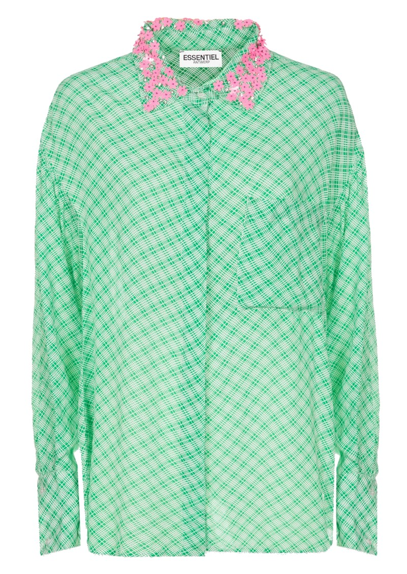 ESSENTIEL ANTWERP Shitayay Embellished Collar Shirt - Green Tea main image