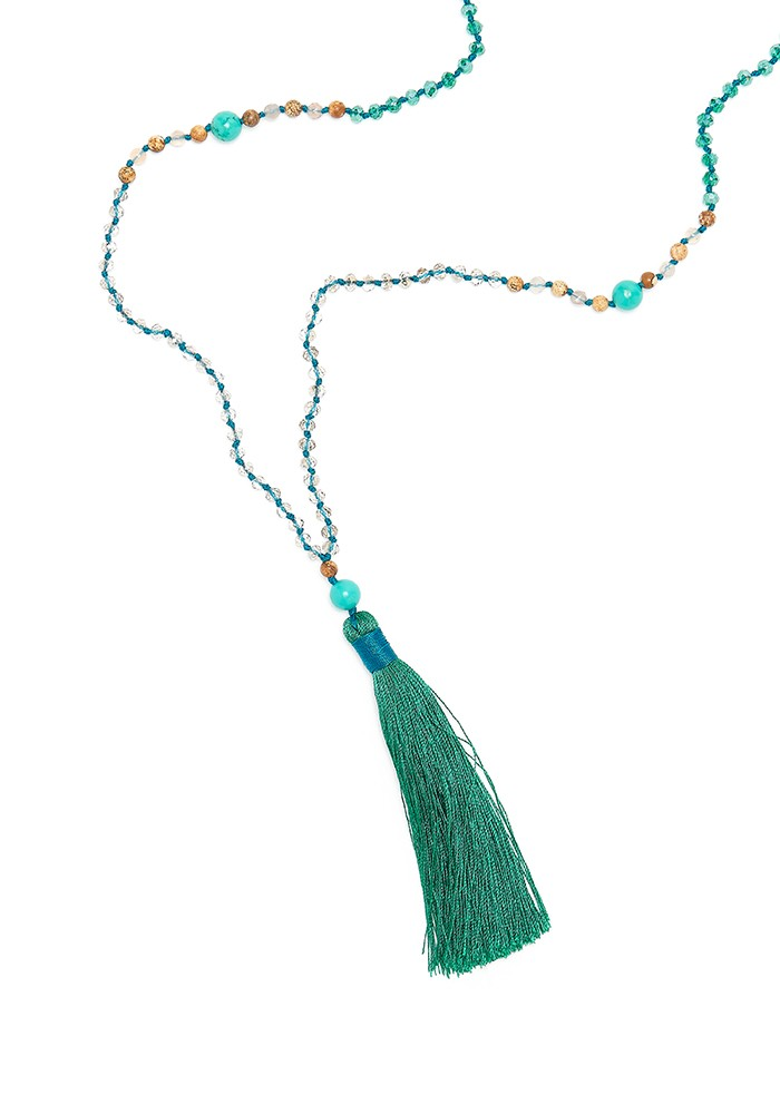 TRIBE + FABLE Single Tassel Necklace - Emerald & Turquoise main image