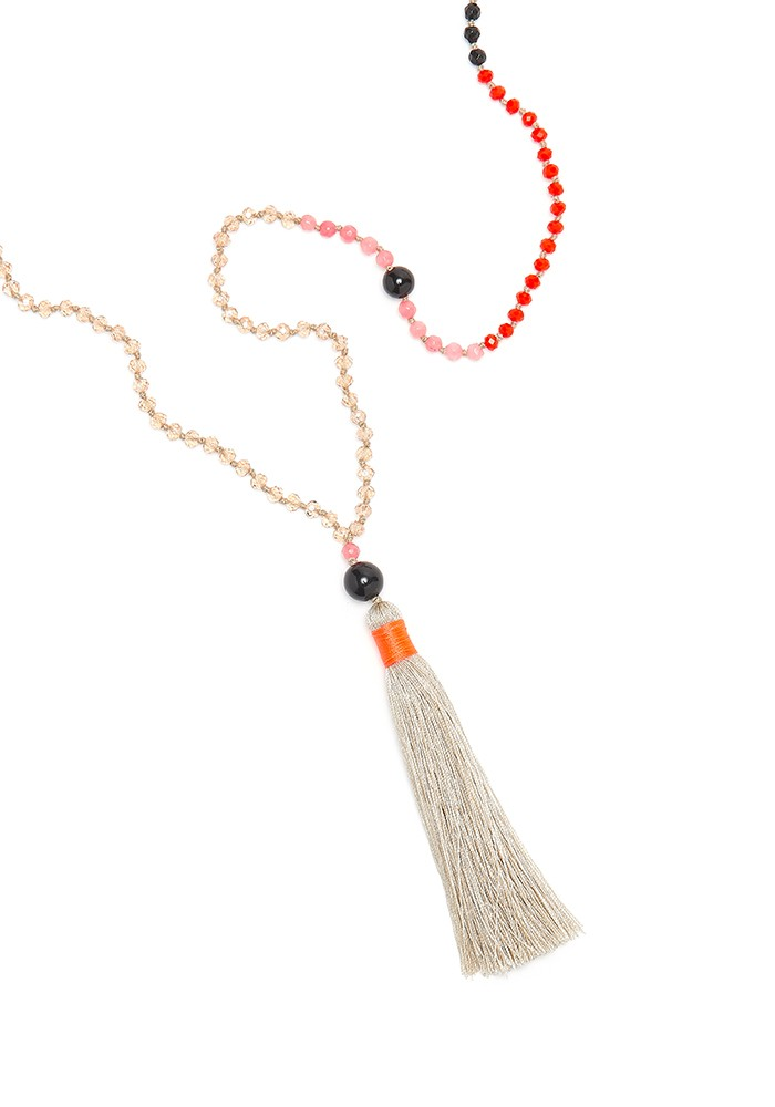 TRIBE + FABLE Single Tassel Necklace - Kyoto Orng main image
