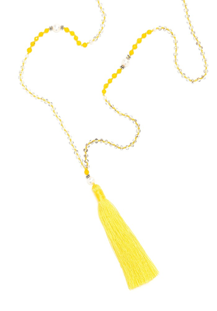 TRIBE + FABLE Single Tassel Necklace - Yellow & Pearls main image