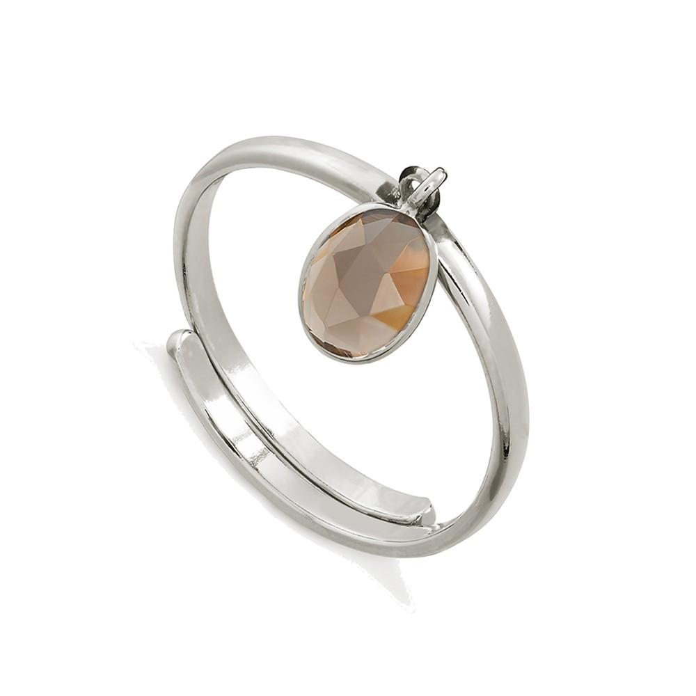 Rio Adjustable Ring - Smoky Quartz & Silver