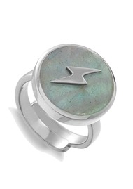 SVP Stellar Lightning Bolt Adjustable Ring - Silver & Labradorite