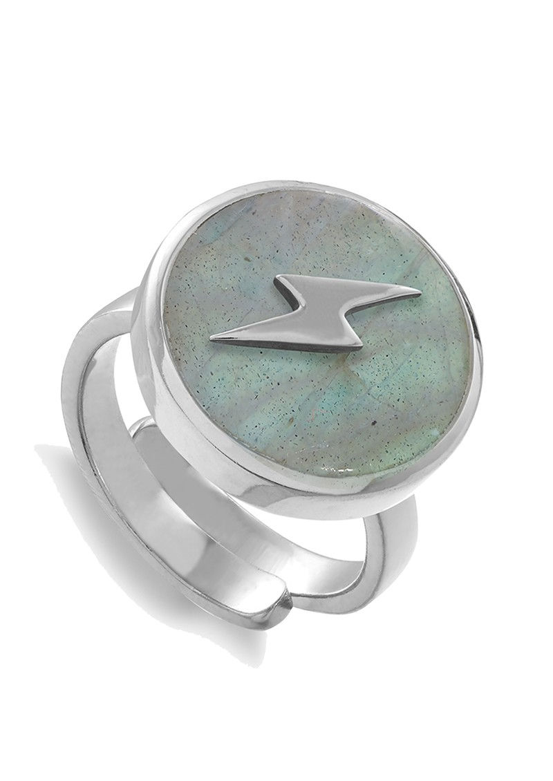 SVP Stellar Lightning Bolt Adjustable Ring - Silver & Labradorite main image