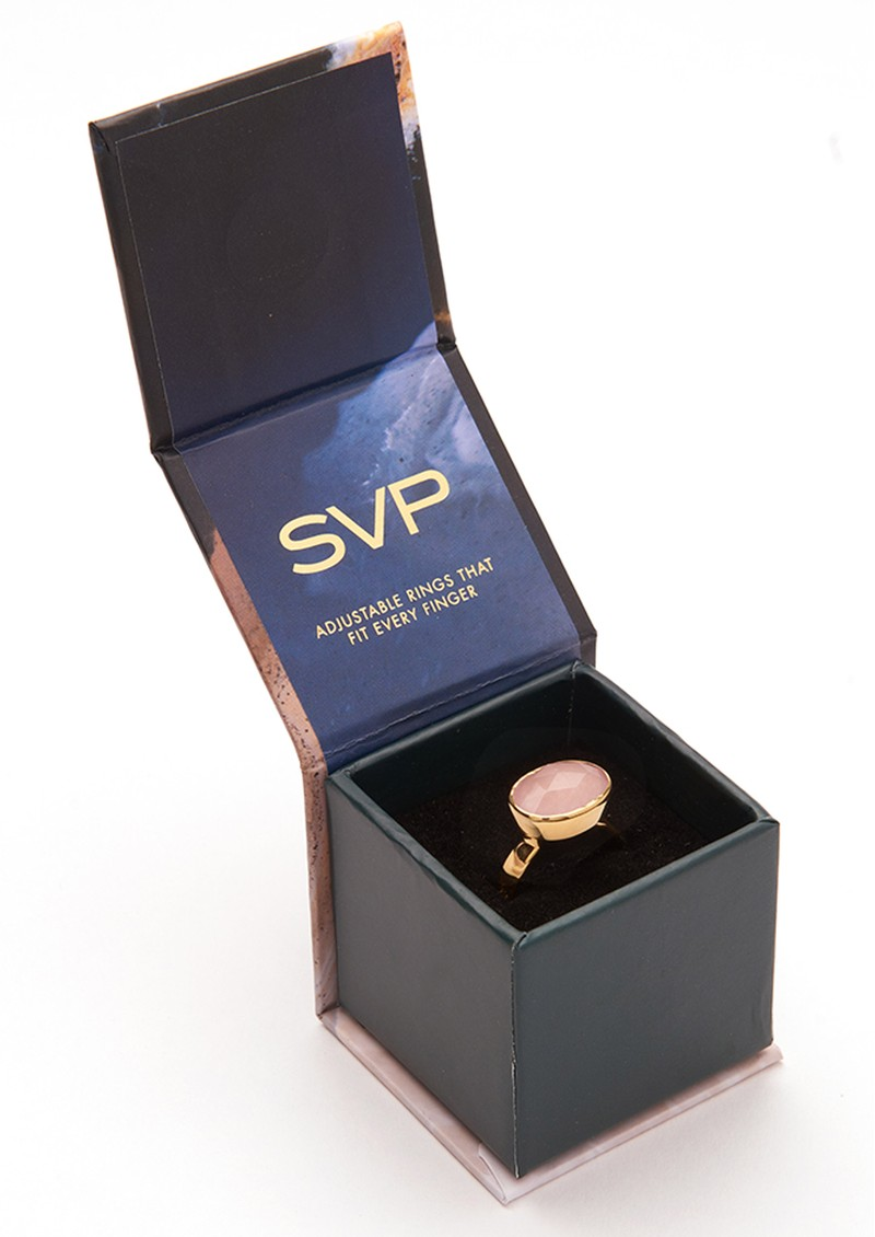 SVP Stellar Lightning Bolt Adjustable Ring - Gold & Rainbow Moonstone main image