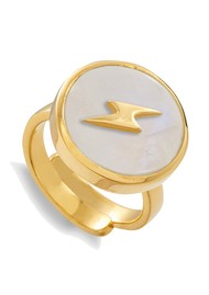 SVP Stellar Lightning Bolt Adjustable Ring - Gold & Rainbow Moonstone