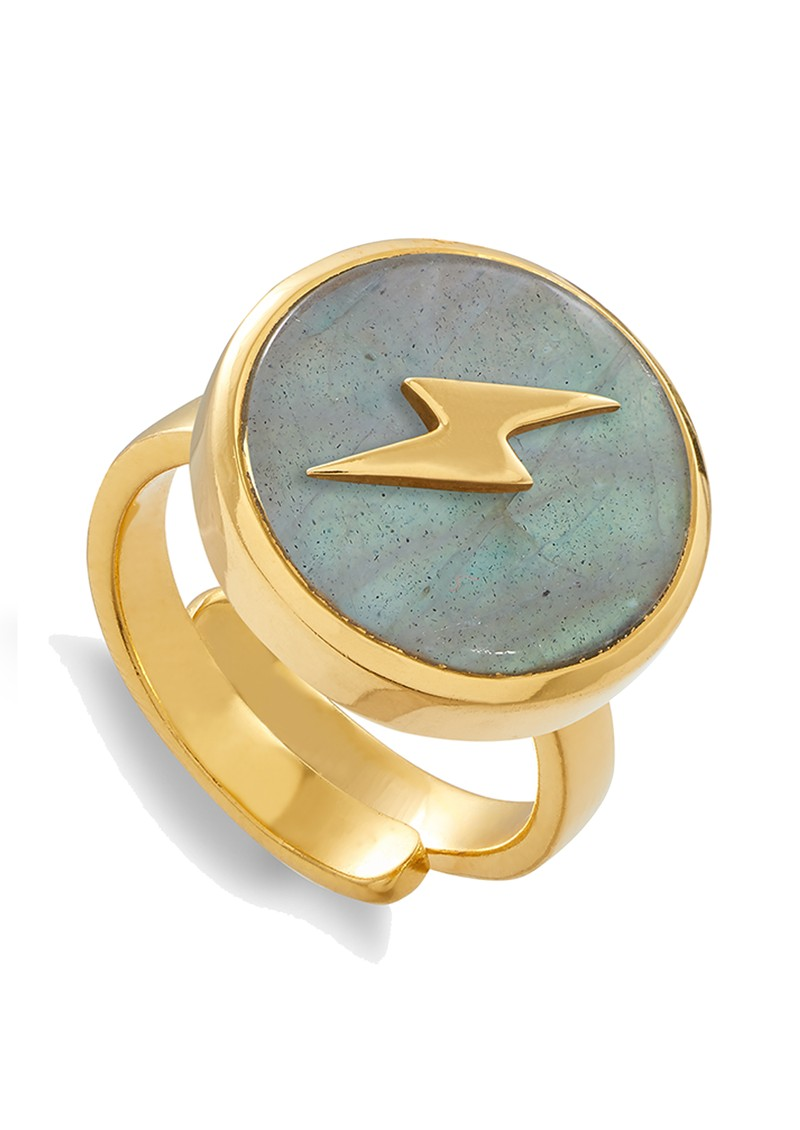 SVP Stellar Lightning Bolt Adjustable Ring - Gold & Labradorite main image