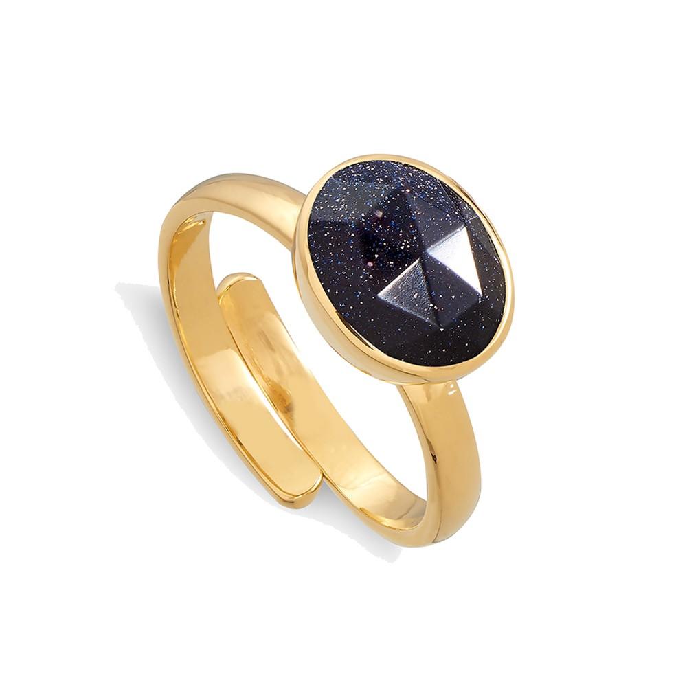 Atomic Midi Adjustable Ring - Blue Sunstone & Gold
