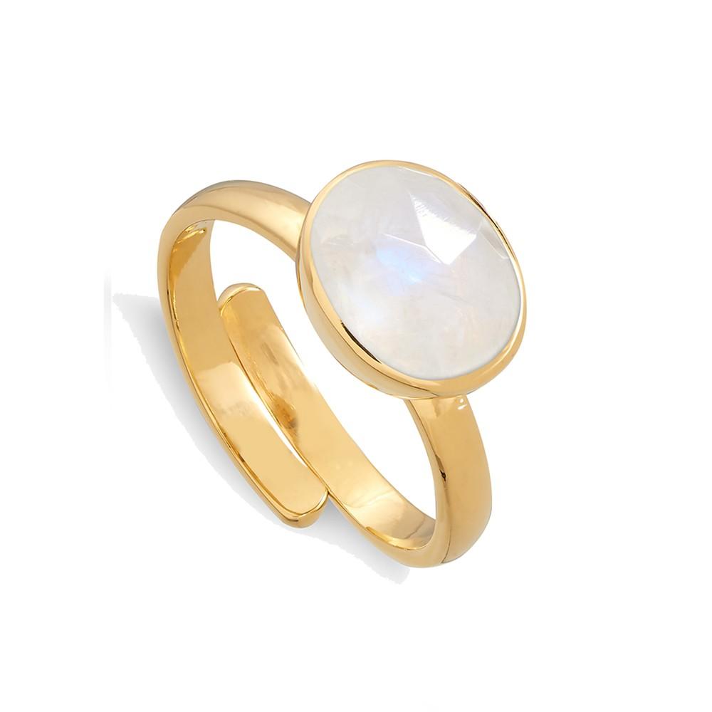 Atomic Midi Adjustable Ring - Rainbow Moonstone & Gold
