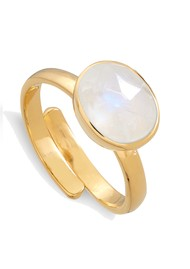 SVP Atomic Midi Adjustable Ring - Rainbow Moonstone & Gold