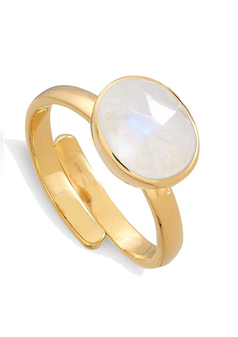SVP Atomic Midi Adjustable Ring - Rainbow Moonstone & Gold main image