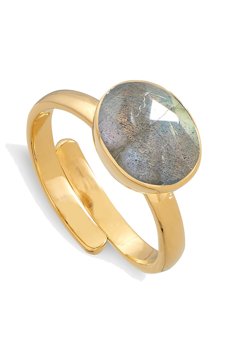 SVP Atomic Midi Adjustable Ring - Labradorite & Gold main image