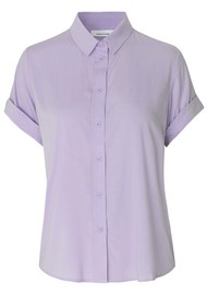 SAMSOE & SAMSOE Majan Short Sleeve Shirt - Pastel Lilac