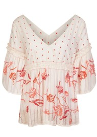 PK BERRY Florita Blouse - Cream & Peach
