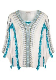 PK BERRY Esperanza Top - Cream & Turquoise