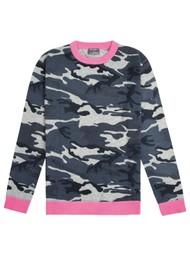 ORWELL + AUSTEN Camo Jumper - Blue & Neon Pink