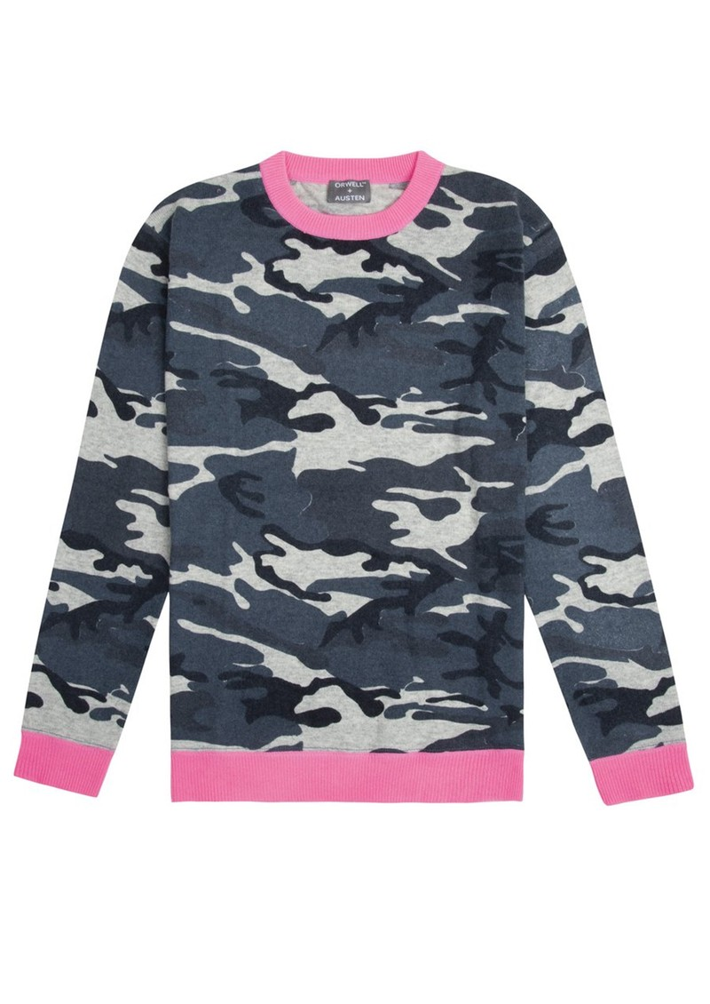 ORWELL + AUSTEN Camo Jumper - Blue & Neon Pink main image