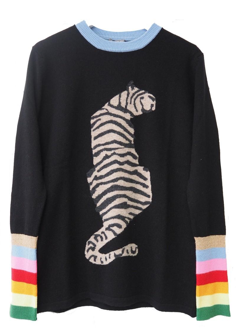 ORWELL + AUSTEN Tiger Sweater - Black & Rainbow main image