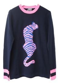 ORWELL + AUSTEN Tiger Sweater Navy & Neon Pink