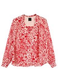 IDANO Pasteis Printed Blouse - Scarlet