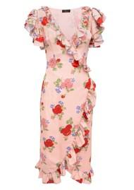 DE LA VALI Cadaques Wrap Dress - Dusty Pink