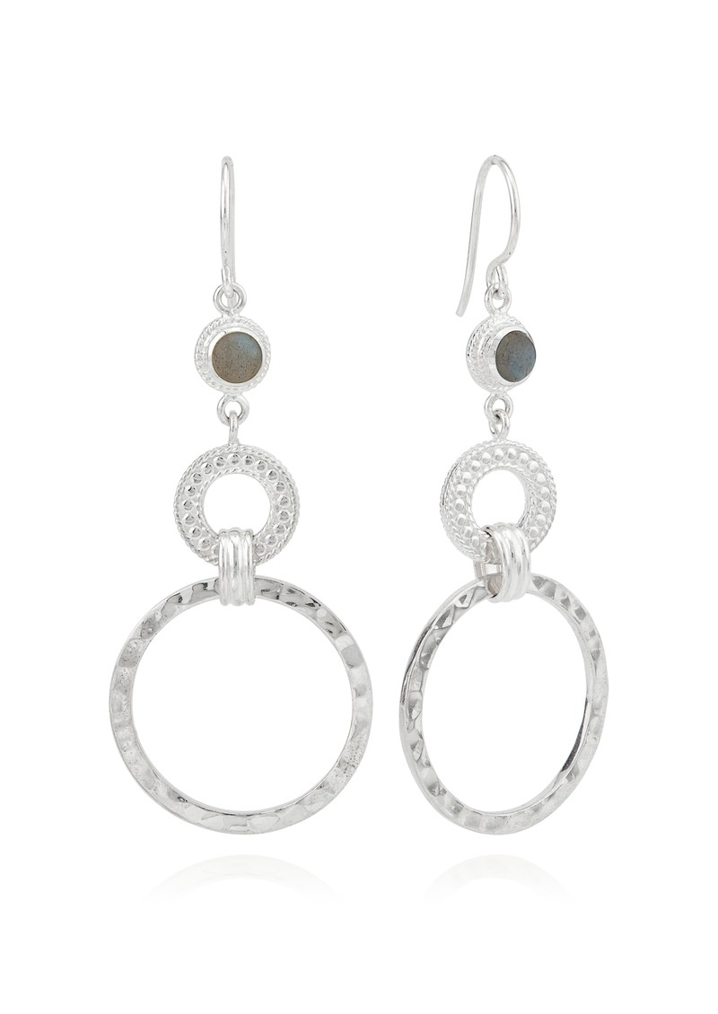 ANNA BECK Pacifica Hammered & Labradorite Double Hoop Earrings - Silver main image