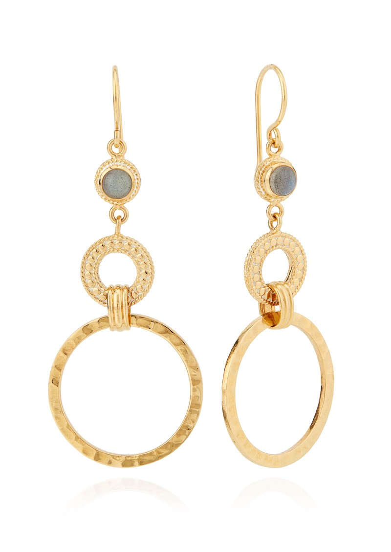 ANNA BECK Pacifica Hammered & Labradorite Double Hoop Earrings - Gold main image