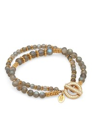 ANNA BECK Labradorite Double Beaded Stacking Bracelet - Gold & Labradorite