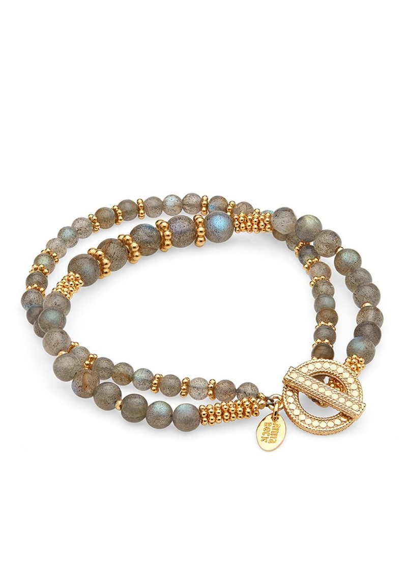 ANNA BECK Labradorite Double Beaded Stacking Bracelet - Gold & Labradorite main image