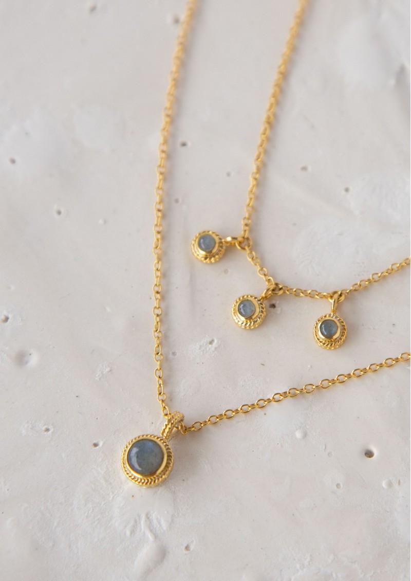 ANNA BECK Labradorite Triple Stone Stacking Necklace - Gold & Labradorite main image