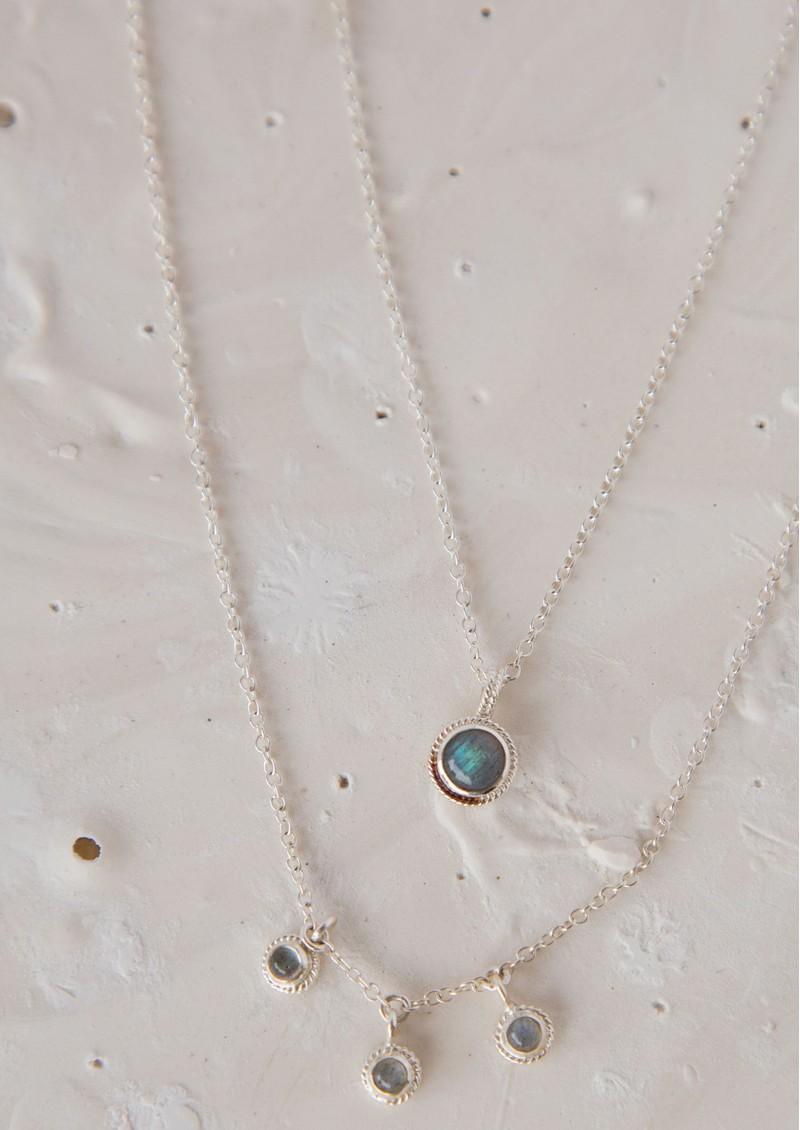 ANNA BECK Labradorite Triple Stone Stacking Necklace - Silver & Labradorite main image