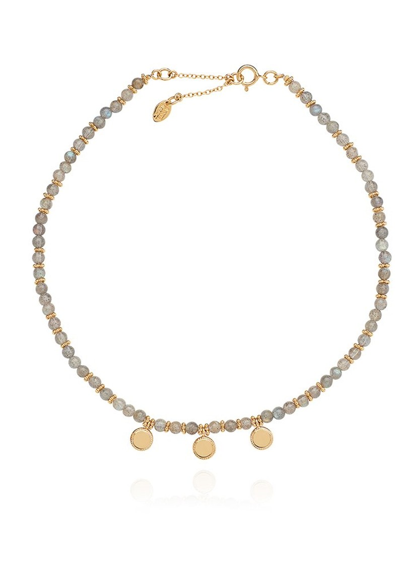 Triple Labradorite Disc Choker - Gold  main image