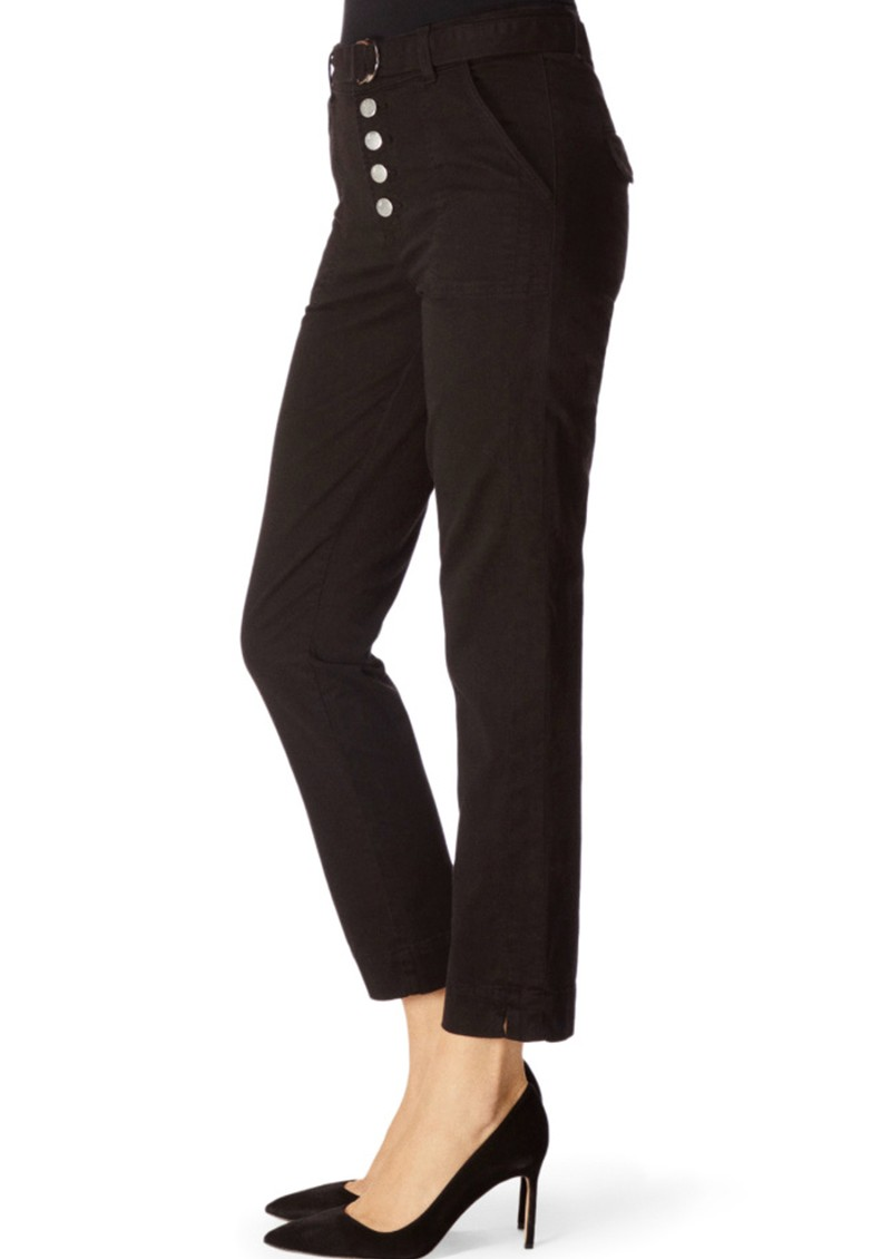 J Brand Kyrah High Rise Cropped Cigarette Pant - Black main image