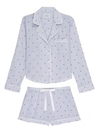 Rails Kellen Mini Moon & Stars Long Sleeve Pyjama Set - White & Blue