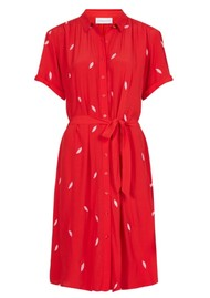 FABIENNE CHAPOT Boyfriend Embroidery Dress - Romance Red & Loco Lips