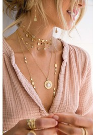 ANNA BECK Morning Glory Guava & Green Amethyst Collar Necklace - Gold